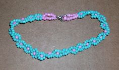 Turquoise and Pearl Pink Seed Bead Daisy Bracelet by SDJLPLACE on Etsy