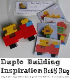 Lego Duplo Building Inspiration Busy Bag 31 Days of Busy Bags & Quiet Time Activities Quiet Time Activities, Lego Activities, Preschool Activities, Travel Activities, Lego Duplo, Activity Bags, Money Saving Mom, Busy Bags, Toddler Fun