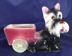 Little Terrier Dog Planter Vintage Ceramic Dog Planter Schnauzer or Scottish Terrier by SusieSellsVintage on Etsy