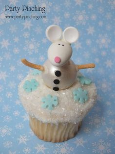 Snowflake mouse cupcakes at a Christmas party! See more party planning ideas at CatchMyParty.com!