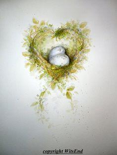 """Love Nest 2"".Bird Nest painting watercolor artt eggs moss by 4WitsEnd via Etsy"