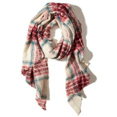 Hollister Patterned Boucle Scarf ($12) ❤ liked on Polyvore featuring accessories, scarves, cream plaid, fringe shawl, plaid shawl, tartan plaid shawl, tartan plaid scarves and patterned scarves
