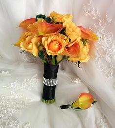 Image result for bouquet gardenie e rose arancioni