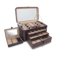Morelle Alexis Duża skórzana Podwójne boczne rozkładaną Jewelry Box Set