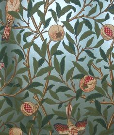Bird And Pomegranate Wallpaper from William Morris Archive Wallpapers 2 Collection. A reflective wallpaper featuring golden birds nestling in fruit bearing pomegranate trees. Damask Wallpaper Living Room, Interior Wallpaper, Chinoiserie Wallpaper, Wall Wallpaper, Zoffany Wallpaper, William Morris Tapet, William Morris Wallpaper, Morris Wallpapers, Turquoise Wallpaper