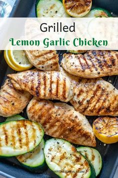 These Grilled Lemon Garlic Chicken breasts are so easy to make, tender, juicy, and full of lemony flavor. Grilled with some zucchini and takes just 30 minutes of your time. #grilledchicken #lemonchicken #garlicchicken #lowcarb #keto via @healthyfitnessmeals