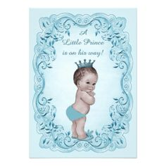 Príncipe azul chá de fraldas do vintage convite 12.7 x 17.78cm