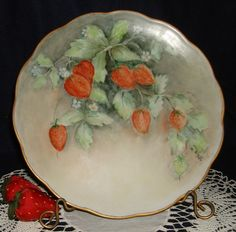 Strawberry Plate J Seltmann Vohenstrauss Bavaria Germany HP Porcelain Signed | eBay