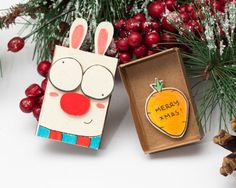 SALE: Personalized Holiday Card Silly Bunny/ Funny Christmas Card/ Custom Holiday New Year Card Matchbox/ Small Gift box/ Merry Christmas