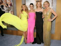 Im personally a huge fan of Sex and the City... Could not stop noticing how gorgeous that yellow dress looks on Sarah Jessica Parker (Carrie Bradshaw).  Gorgeous!  All of the ladies look fabulous.