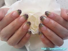 Brown and green double French nail