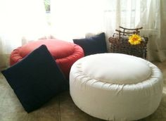 DIY tyre ottoman! I'd use waterproof materials and aquamarine glue for some recycled outdoor seating :)