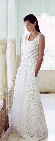 Cotton Broderie Anglaise Dress Moschino