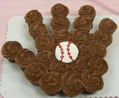 Cute baseball glove cupcake idea