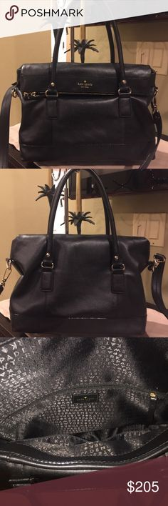 Nwot Kate Spade Stunning Black Ery Soft Leather Bag Gorgeous With Lots Of Room Price Firm Bags Shoulder