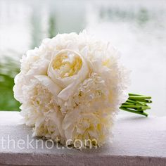 a big bunch of white peonies to play up the wedding's classic and romantic look. Kristin Cavallari Wedding, Perfect Wedding, Free Wedding, Wedding Styles, Formal Wedding, Peony, White Peonies Bouquet, Ranunculus, White Roses