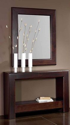modern console table design ideas with mirror 2019 Hallway Decorating, Entryway Decor, Interior Decorating, Foyer, Office Decor, Home Decor Furniture, Furniture Design, Decoration Hall, Home Interior