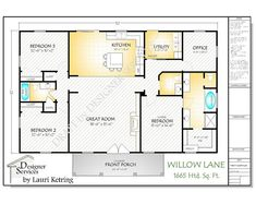 This open concept plan, Willow Lane, has so much to offer for a Square Foot Home. 3 bedrooms, Baths and an much needed Office. The Great Room is designed to accommodate beautiful built in cabinetry and a fireplace. The Plan Set includes the Pole Barn House Plans, Pole Barn Homes, New House Plans, Small House Plans, House Floor Plans, Square House Plans, Square Floor Plans, Rectangle House Plans, Barn Homes Floor Plans