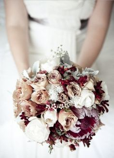 Hunter Valley wedding at Peterson's Champagne House by Matt Johnson Photography This would be so charming for a winter wedding! Red Bouquet Wedding, Burgundy Wedding, Wedding Bridesmaids, Floral Wedding, Fall Wedding, Wedding Colors, Wedding Flowers, Dream Wedding, Bridal Bouquets