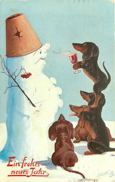 four dachsunds, one stands on anothers shoulder as happy snowman sniffs wine