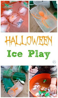 Halloween Ice Play - Such a fun activity and a fun way to play with the little ones!