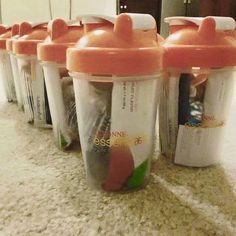 Arbonne goodie bag. Shaker cup filled with Some of Arbonne's best nutrition products.