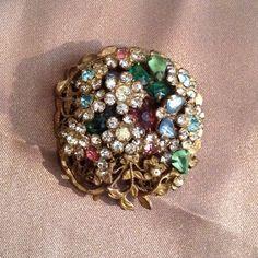 Vintage 1950s multi-colored rhinestone flower by sazzvintage