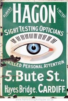 Hagon Opticians Cardiff Enamel Sign