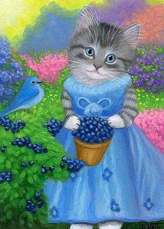 Kitten cat blue bird blueberries garden flowers original aceo painting art #Miniature