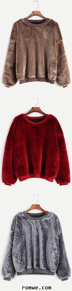 Dropped Shoulder Seam Fuzzy Sweatshirt