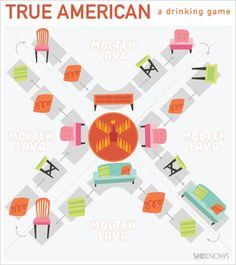 """True American: a drinking game (from New Girl!)...""""It's 50% drinking game, 50% life-size Candy Land."""""""