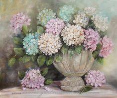Hydrangeas in a Rustic Urn - Gail McCormack Original