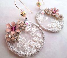 Circle lace earrings, cream drop earrings, Swarovski crystals and vintage lace jewelry, fantasy wedding jewelry, geometric dangle earrings