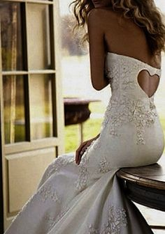 Fitted Wedding dress with heart cut out on  back