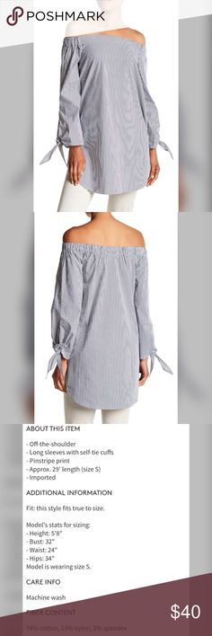 Philosophy Apparel Off-the-Shoulder Pinstripe Xs Philosophy Apparel Off-the-Shoulder Pinstripe Blouse  Xs. Tag still attached. $50 Retail. Make me an offer Philosophy Tops Blouses