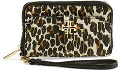Bring out your wild side with this Tory Burch 'Plaque' Leopard Print Smartphone Wristlet