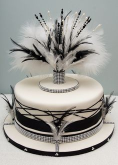 Art Deco wedding cake by chris wright - hull. What a beautiful cake this would be for a black and white themed party.