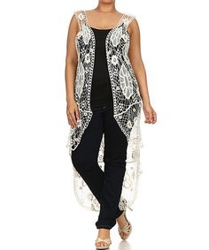 Loving this Ivory Sheer Crochet Sleeveless Duster - Plus on #zulily! #zulilyfinds