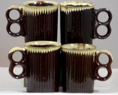 The Vintage Village - View Classified - Vintage Red Ware Made In Japan Mid Century Drip Glaze Mugs