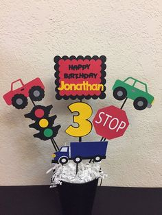 Transportation Car and Trucks Birthday Centerpiece 4th Birthday Cakes For Boys, Happy Birthday Kids, Cars Birthday Parties, Birthday Centerpieces, Birthday Party Decorations, Wheels On The Bus, Car Themes, Monster Trucks, Etsy