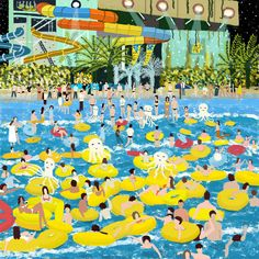 Colorful Illustrated Scenes by Teddy Kang Illustration, People Art, Cool Paintings, Childrens Books, Pikachu, Fair Grounds, Beach, Creative, Artwork
