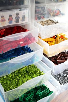 Plastic drawers are great Lego organization items as one can easily sort the Lego pieces according to color. #legostorage #organizing #kidsroom