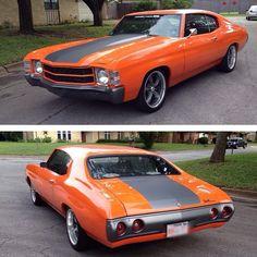 71 chevelle orange and matte black. kind of looks grey.