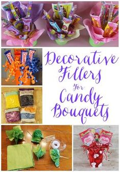 Miss Kopy Kat: Decorative Fillers For Candy Bouquets Candy Boquets, Candy Bar Bouquet, Bouquet Cadeau, Gift Bouquet, Candy Arrangements, Candy Centerpieces, Candy Gift Baskets, Basket Gift, Candy Grams