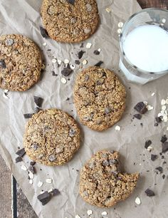 Oatmeal Chocolate Chip Cookies Gluten Free recipe - healthy enough for breakfast and indulgent enough to be desserts