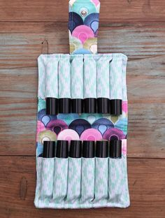 Essential Oil Roller Bottle Bag blue plus sign fabric