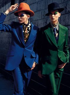 Fashion Essences - masculine womenswear fashion editorial - bright blue and green suit http://pinterest.com/arenaint