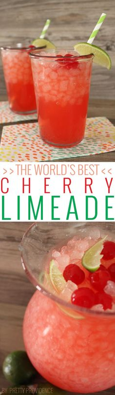 I would use lemonade in place of the limeade. Literally the best fizzy cherry limeade I have ever had! So easy to whip together and sure to please any crowd! This one is a must try! Refreshing Drinks, Fun Drinks, Healthy Drinks, Best Drinks, Healthy Shakes, Eating Healthy, Clean Eating, Non Alcoholic Drinks, Cocktails