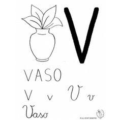 Disegno di Lettera V di Vaso da colorare