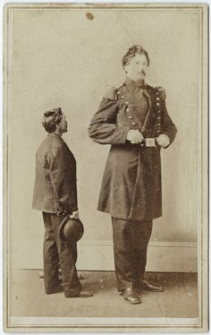 Photograph of a giant man with an average sized man cdv by Spooner